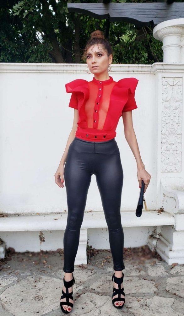 Blanca Blanco in Black Leather Pants in Los Angeles