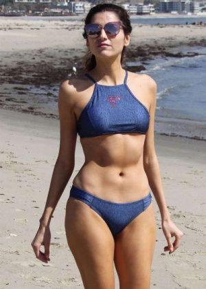 Blanca Blanco in Blue Bikini at a Beach Malibu