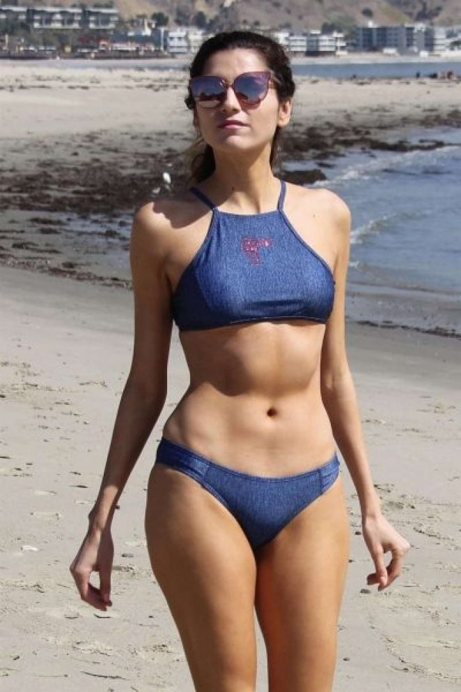 Blanca Blanco in Blue Bikini at a Beach Malibu