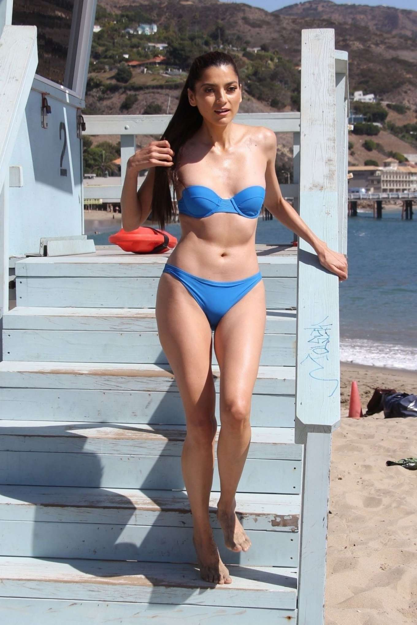 Blanca Blanco in Blue Bikini on the Beach in Malibu