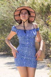 Blanca Blanco in Blue Mini Dress at a beach in Los Angeles