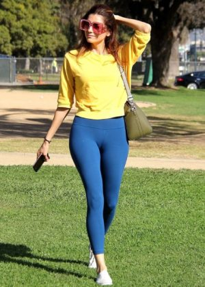Blanca Blanco in Blue Tights Out in Beverly Hills