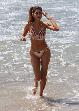 Blanca Blanco in Colourful Bikini on the beach in Malibu
