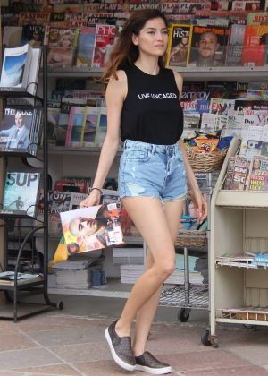Blanca Blanco in Denim Shorts out in Malibu