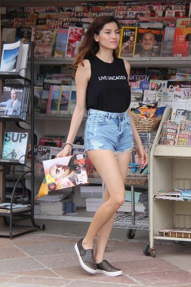 Blanca Blanco in Denim Shorts out in Malibu