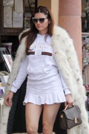 Blanca Blanco in Fur Long Coat and Mini Skirt - Out in Malibu