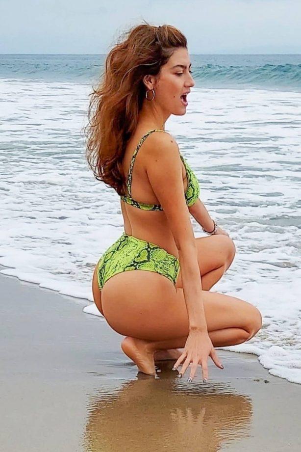 Blanca Blanco - In green bikini heads to the beach in Malibu