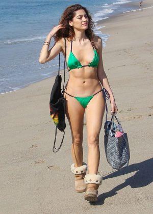 Blanca Blanco in Green Bikini on the beach in Venice