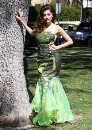 Blanca Blanco in Green Dress - Photoshoot at the park in LA