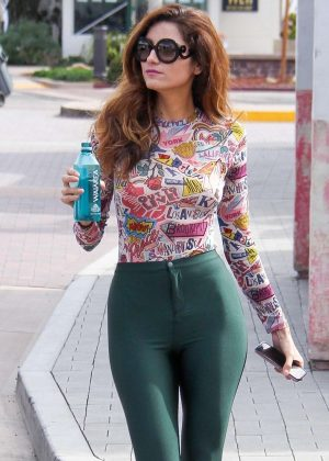 Blanca Blanco in Green Tights - Shopping in Malibu