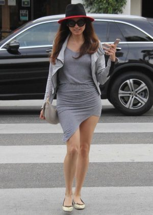 Blanca Blanco in Grey Dress - Out for lunch in Beverly Hills