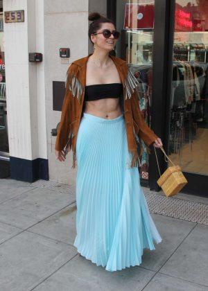 Blanca Blanco in Long Blue Skirt - Shopping in Los Angeles