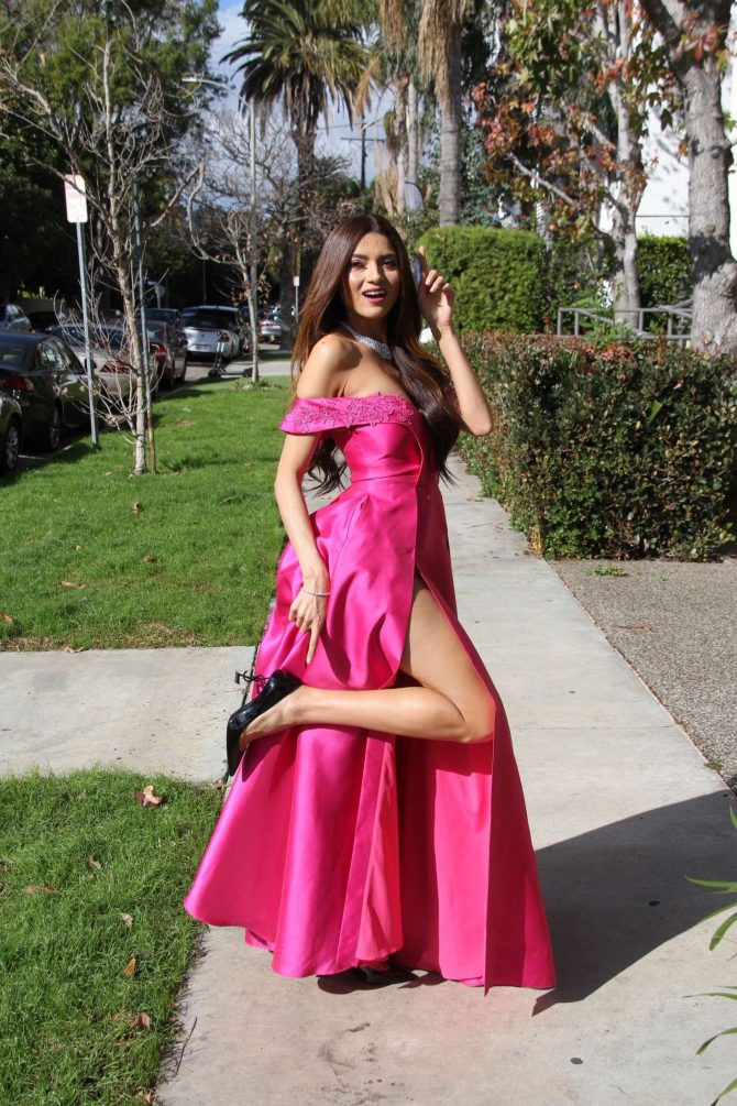 Blanca Blanco in Long Pink Dress – Out in West Hollywood