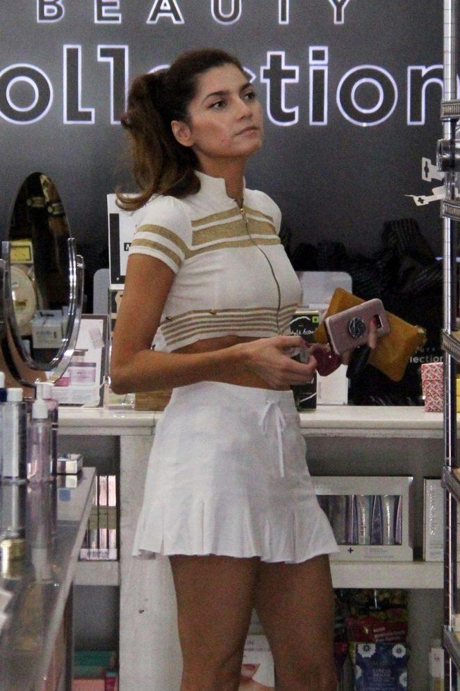 Blanca Blanco in Mini Skirt at Starbucks in Malibu