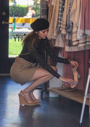 Blanca Blanco in Mini Skirt - Shopping in Malibu