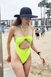 Blanca Blanco in Neon Yellow Swimsuit at the beach in Marina del Rey