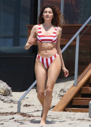 Blanca Blanco in Red and White Bikini at the beach in Malibu