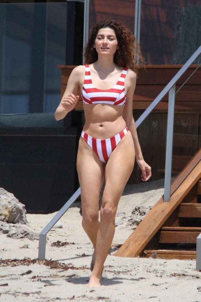 Blanca Blanco in Red and White Bikini at the beach in Malibu
