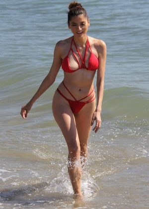 Blanca Blanco in Red Bikini on Malibu Beach