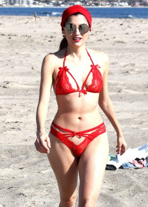 Blanca Blanco in Red Bikini on the beach in Malibu
