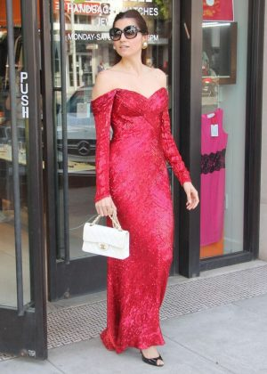 Blanca Blanco in Red Dress - Shopping in Los Angeles
