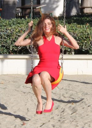 Blanca Blanco in Red Dress - Swinging in Malibu