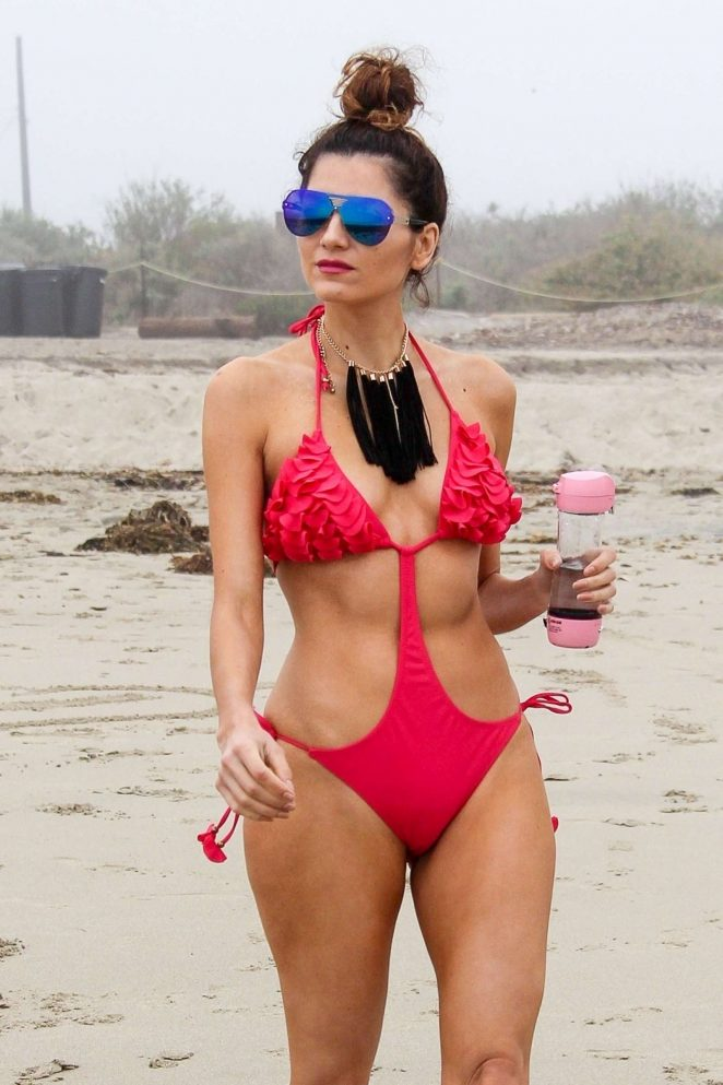 Blanca Blanco in Red Swimsuit 2018 -07