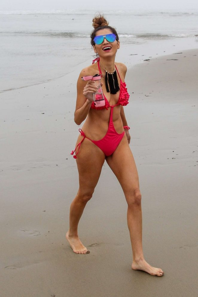 Blanca Blanco in Red Swimsuit 2018 -08
