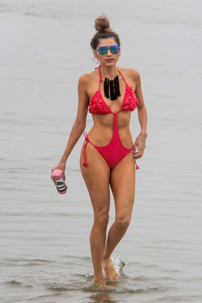 Blanca Blanco in Red Swimsuit 2018 -11