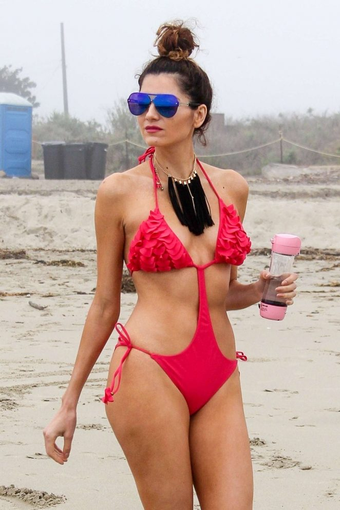 Blanca Blanco in Red Swimsuit in Malibu