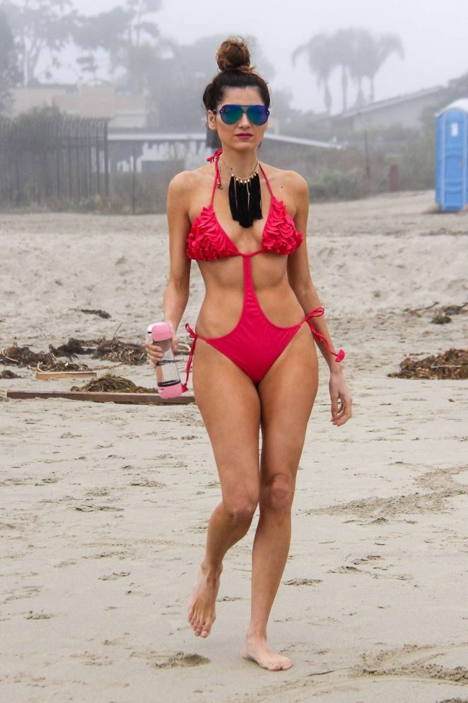 Blanca Blanco in Red Swimsuit 2018 -20