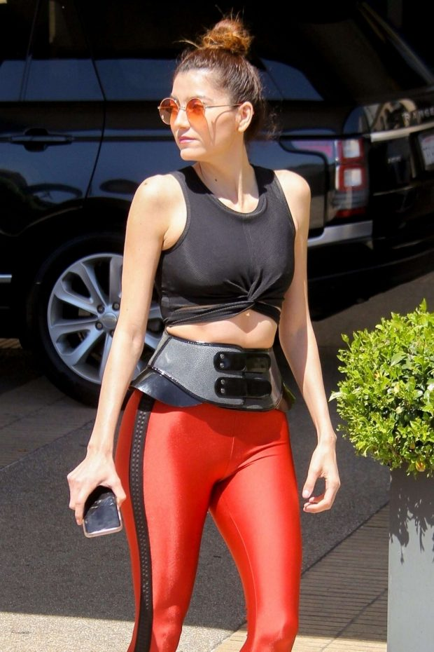 Blanca Blanco in Red Tights at Barneys New York in LA