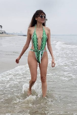 Blanca Blanco in Snakeskin Print Swimsuit at a beach in Malibu