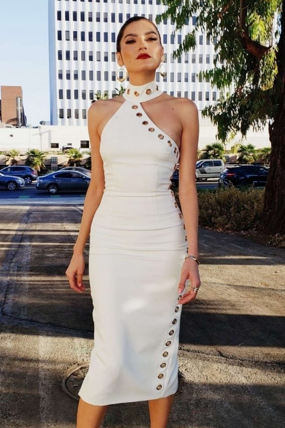 Blanca Blanco in White Dress on Photoshoot in Beverly Hills