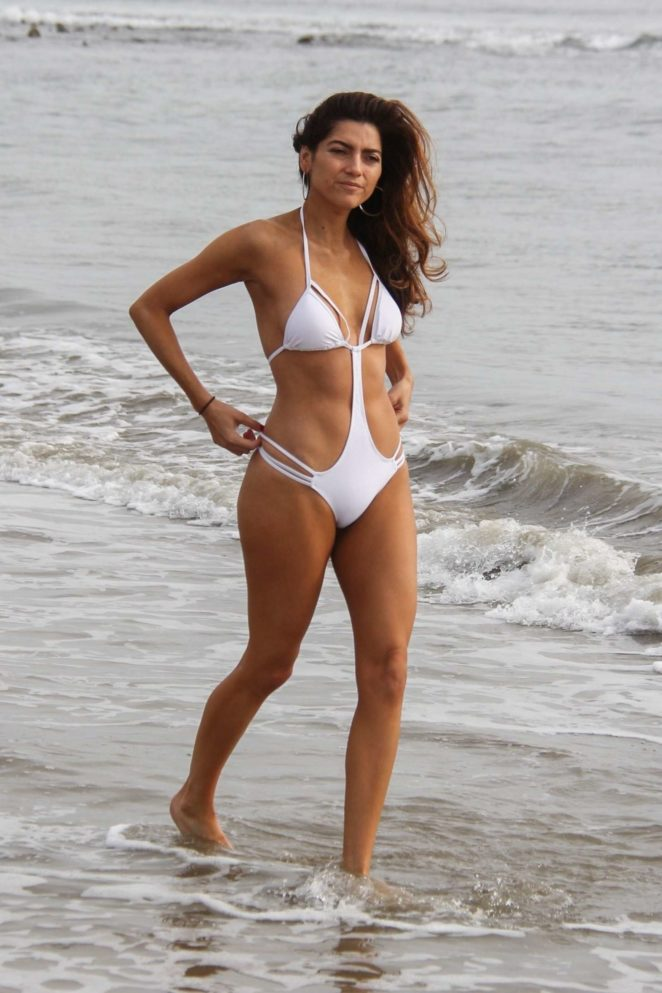 Blanca Blanco in White Swimsuit on the beach in Malibu
