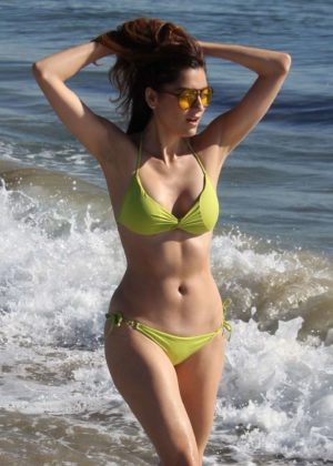 Blanca Blanco in Yellow Bikini in Malibu