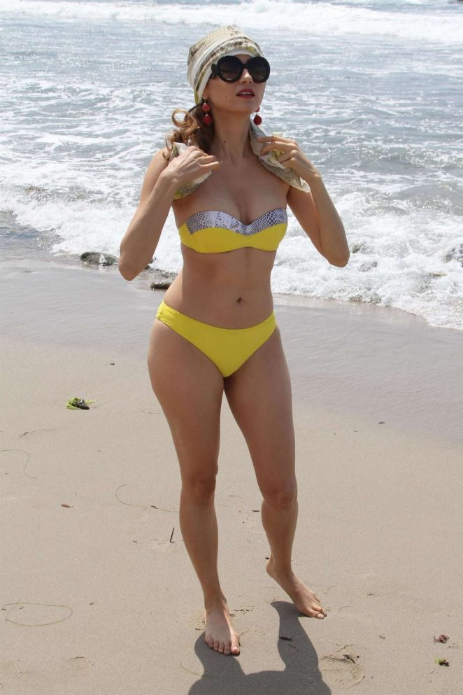 Blanca Blanco in Yellow Bikini Photoshoot on the beach in Malibu