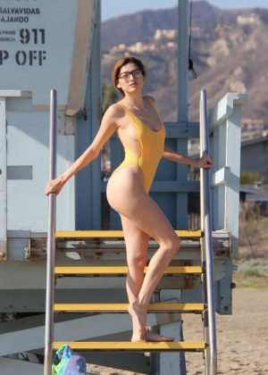 Blanca Blanco in Yellow Swimsuit on a New Year's Day photoshoot in Malibu