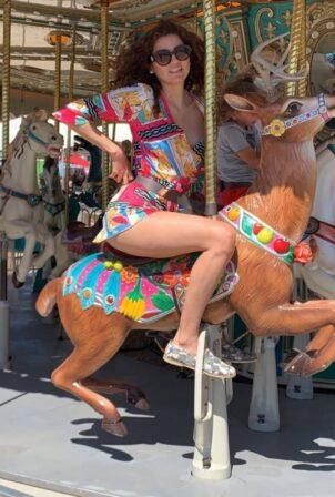 Blanca Blanco - rides the merry-go-round the 39th Annual Malibu Chili Cook