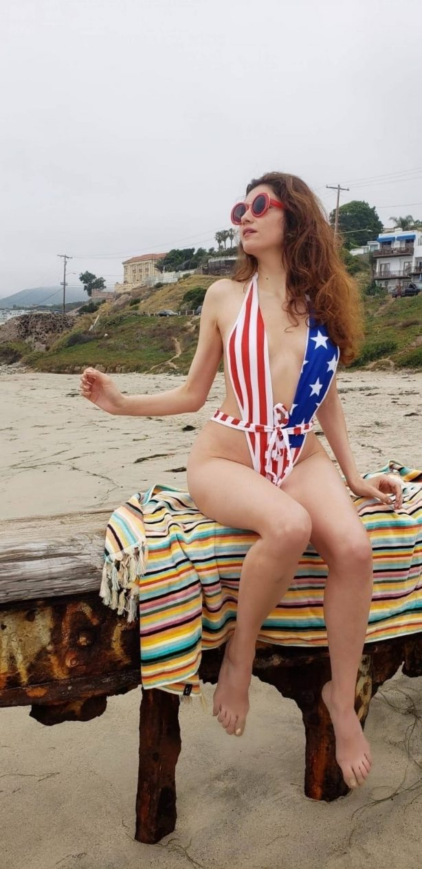 Blanca Blanco Wearing American Colors On Her Swimsuit - Celebrating The Fourth Of July in Malibu