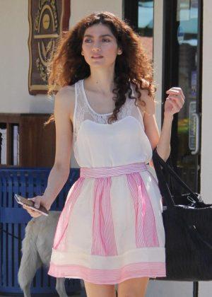 Blanca Blanco with her dog shopping in Malibu