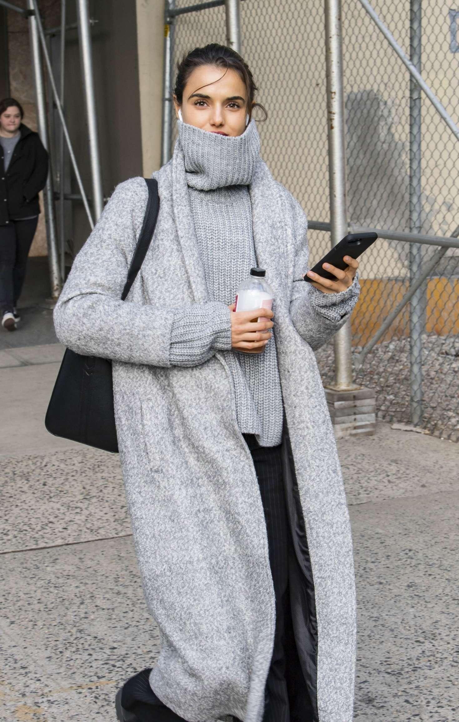Blanca Padilla in Long Coat out in New York