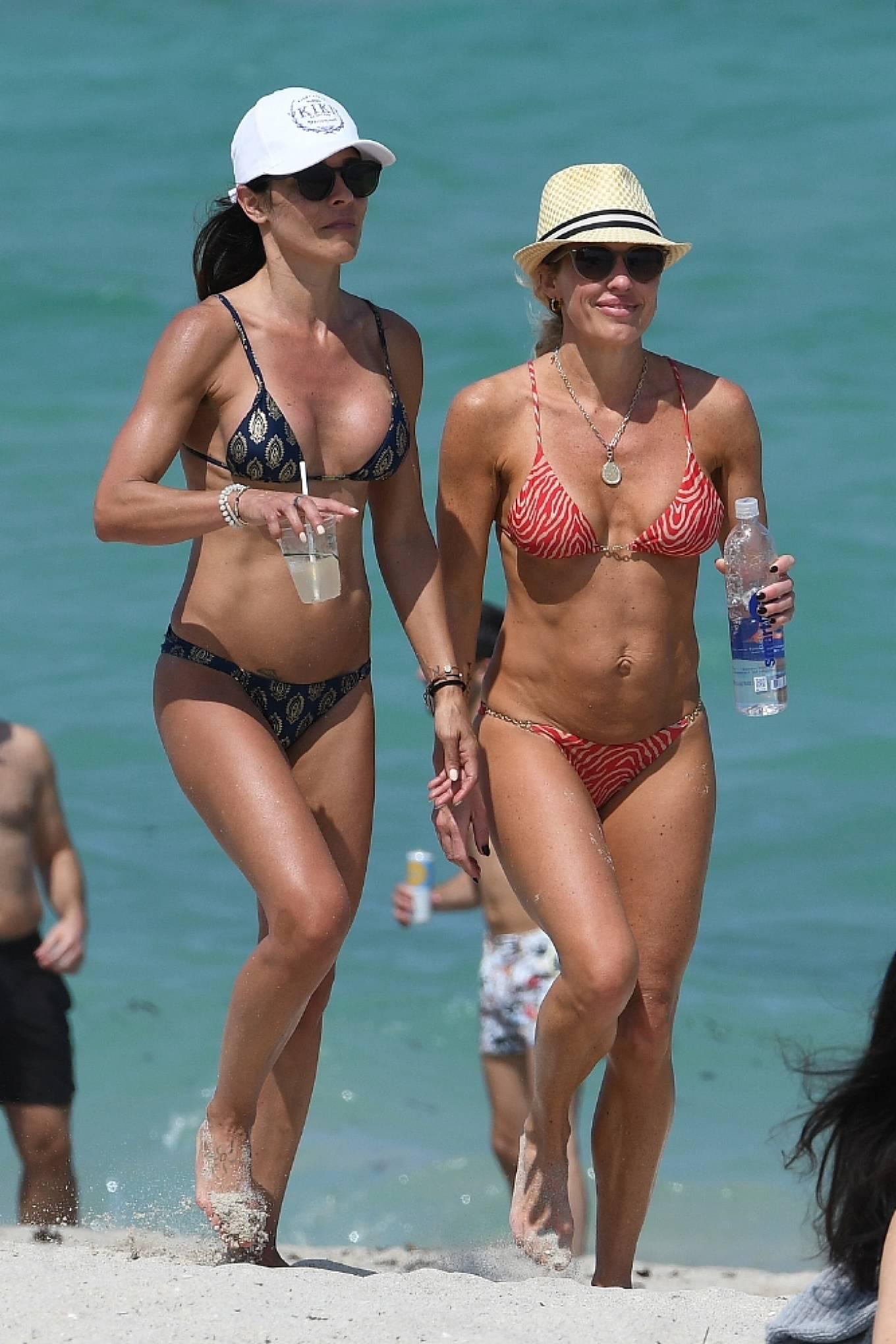 Braunwyn Windha-Burke 2021 : Braunwyn Windham-Burke – In a red bikini with Fernanda Rocha on the beach in Miami-01