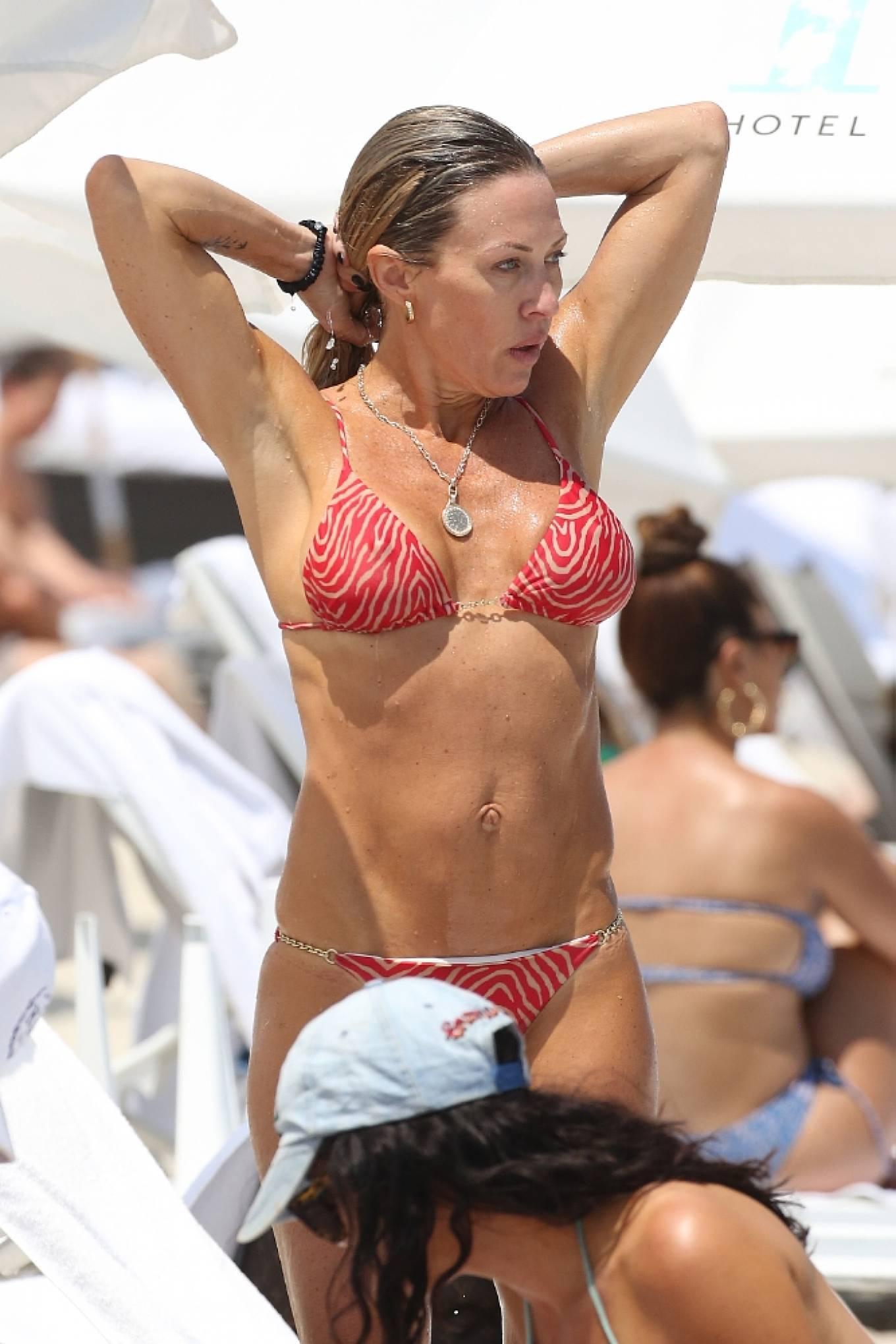 Braunwyn Windha-Burke 2021 : Braunwyn Windham-Burke – In a red bikini with Fernanda Rocha on the beach in Miami-10