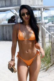 Bre Tiesi in Orange Bikini on the beach in Miami