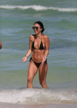 Breana Tiesi In Black Bikini On The Beach In Miami Gotceleb