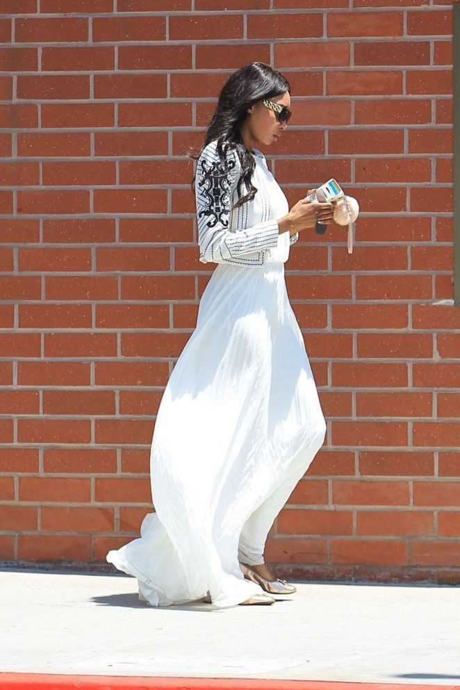 Bria Murphy in White Dress Out Shopping -01