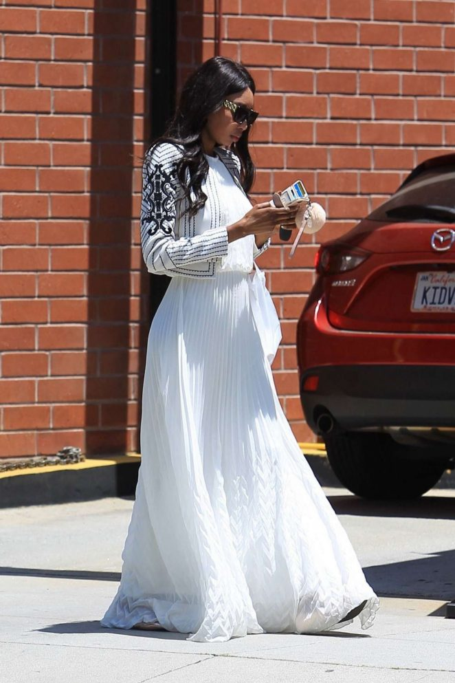 Bria Murphy in White Dress Out Shopping in Beverly Hills