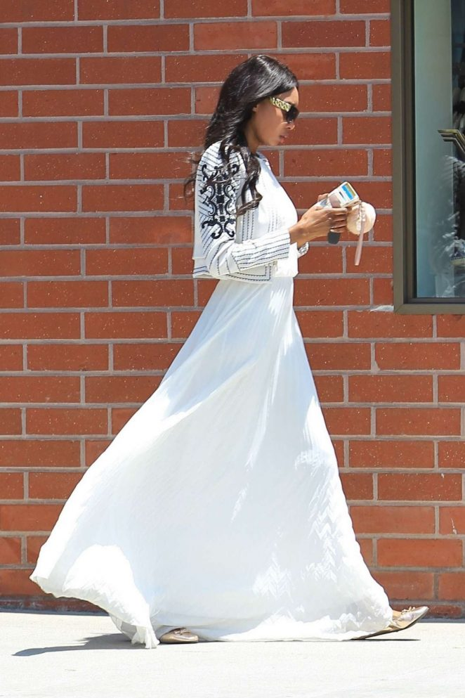 Bria Murphy in White Dress Out Shopping -09