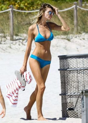 Brianna Addolorato in Blue Bikini on Miami Beach